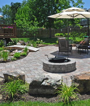 Landscape design in backyard area, completed by Embassy Landscape Group.
