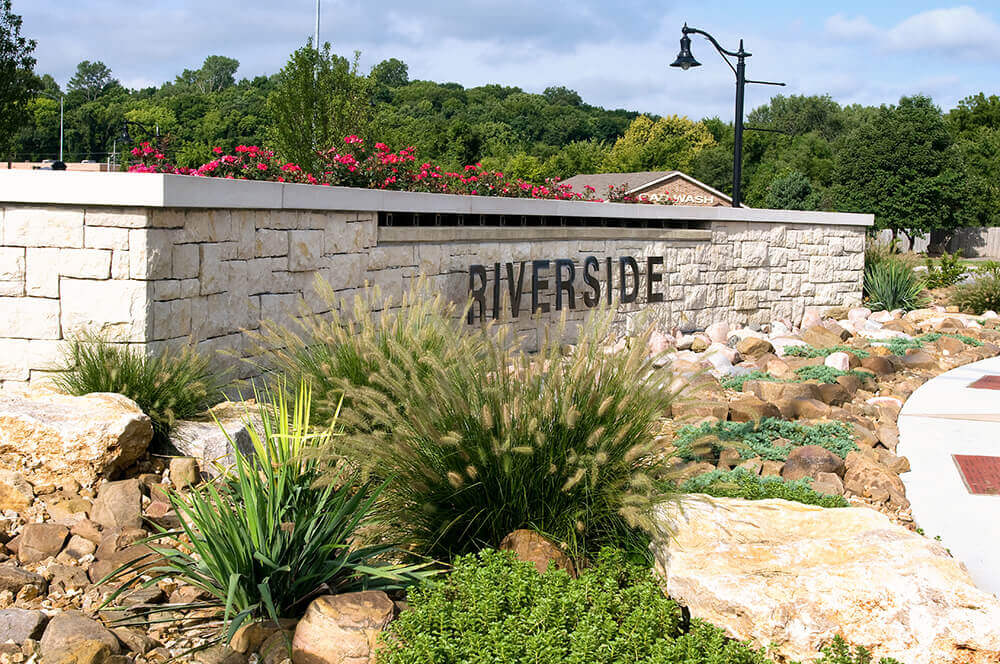 Commercial landscape design at Riverside, completed by Embassy Landscape Group..