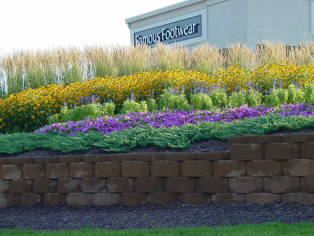 Commercial landscape design at Famous Footwear completed by Embassy Landscape Group.