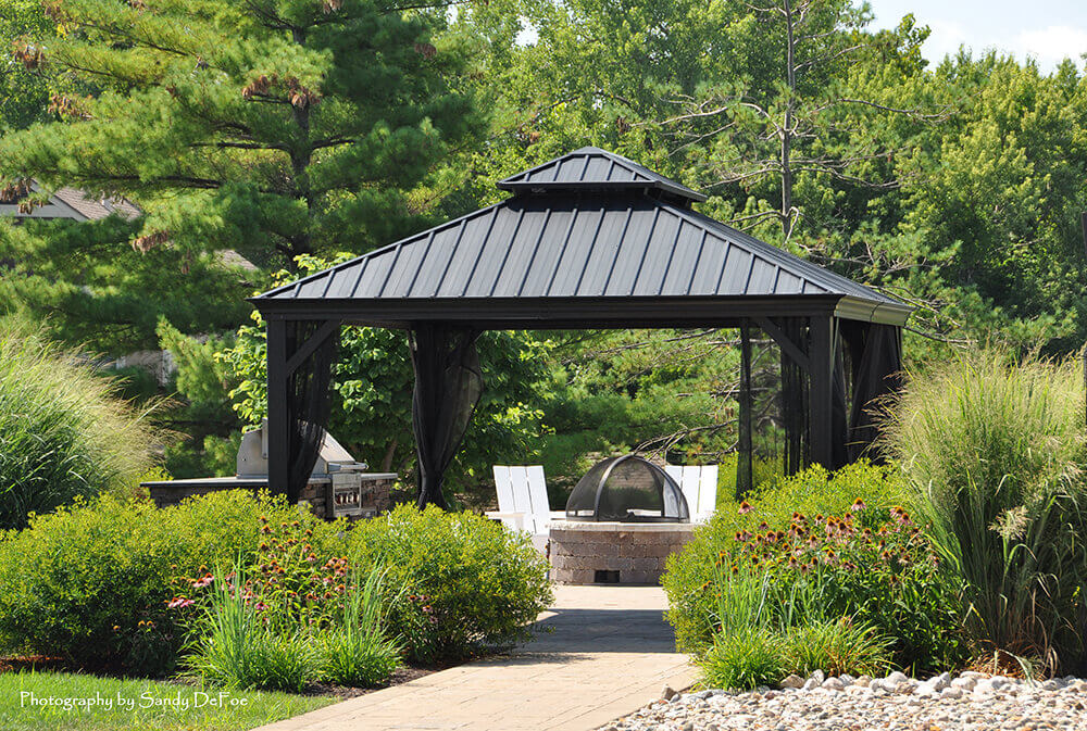 Commercial landscape design and gazebo, completed by Embassy Landscape Group..