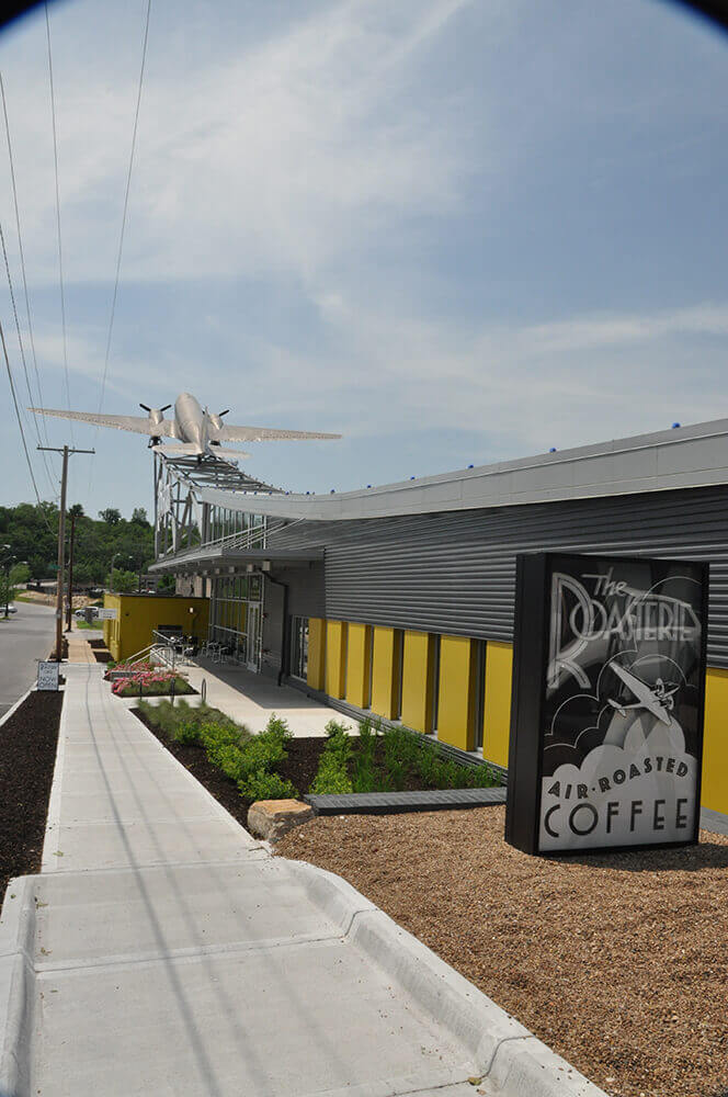 Commercial landscape design at the Roasterie in Kansas City, completed by Embassy Landscape Group..