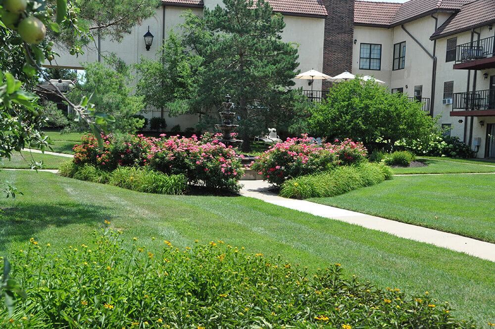 Commercial landscape design at The Villa in Kansas City, completed by Embassy Landscape Group..