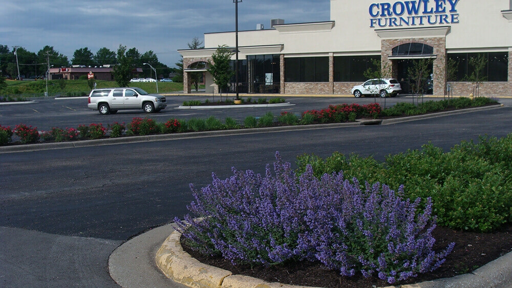 Commercial landscape at Crowley Furniture completed by Embassy Landscape Group.