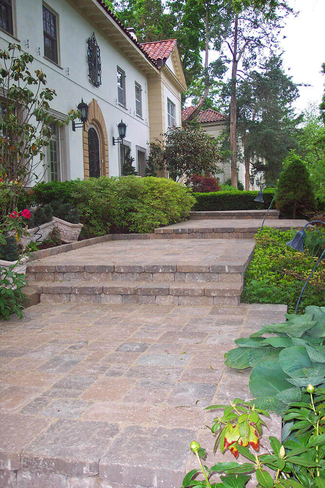 paved area with steps