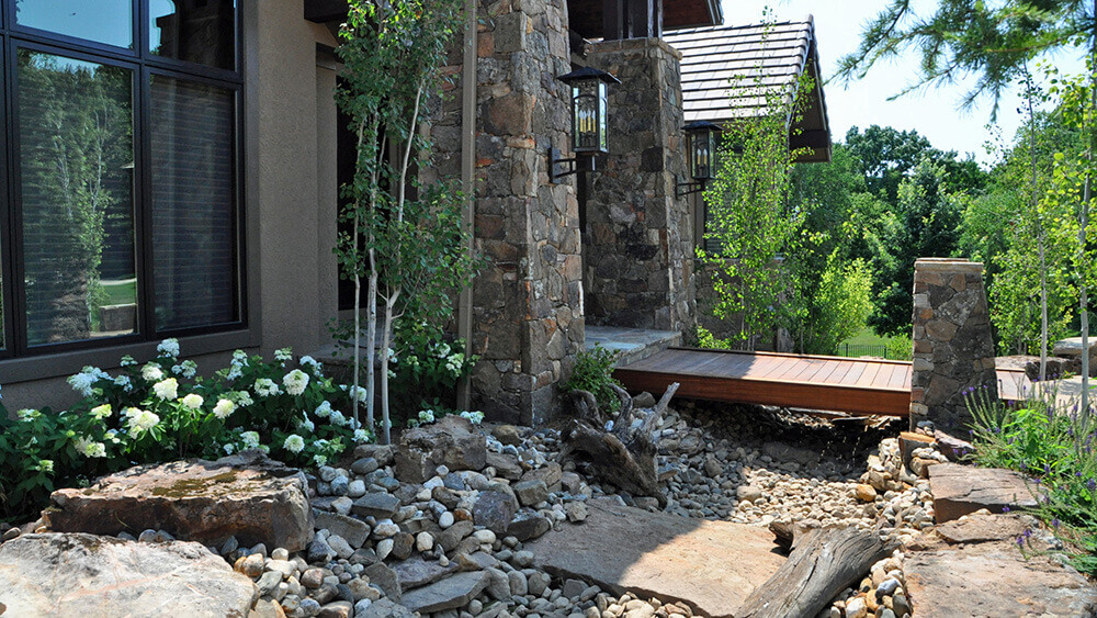 Residential landscape design and dry creek bed.