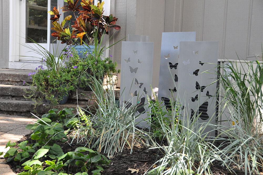 Landscape design with butterfly art.