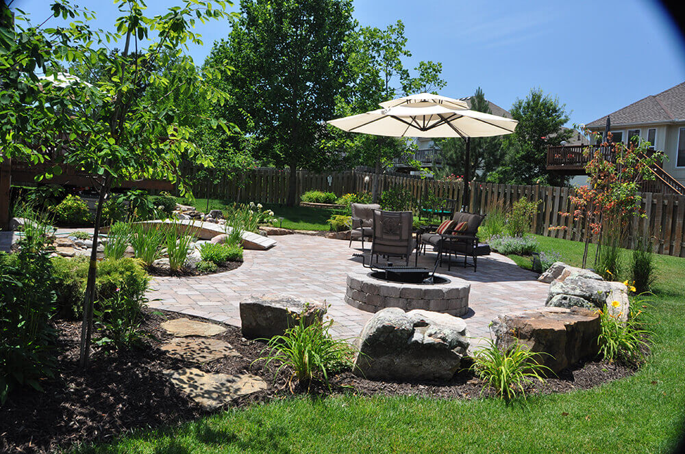 Backyard with shaded seating area and firepit.