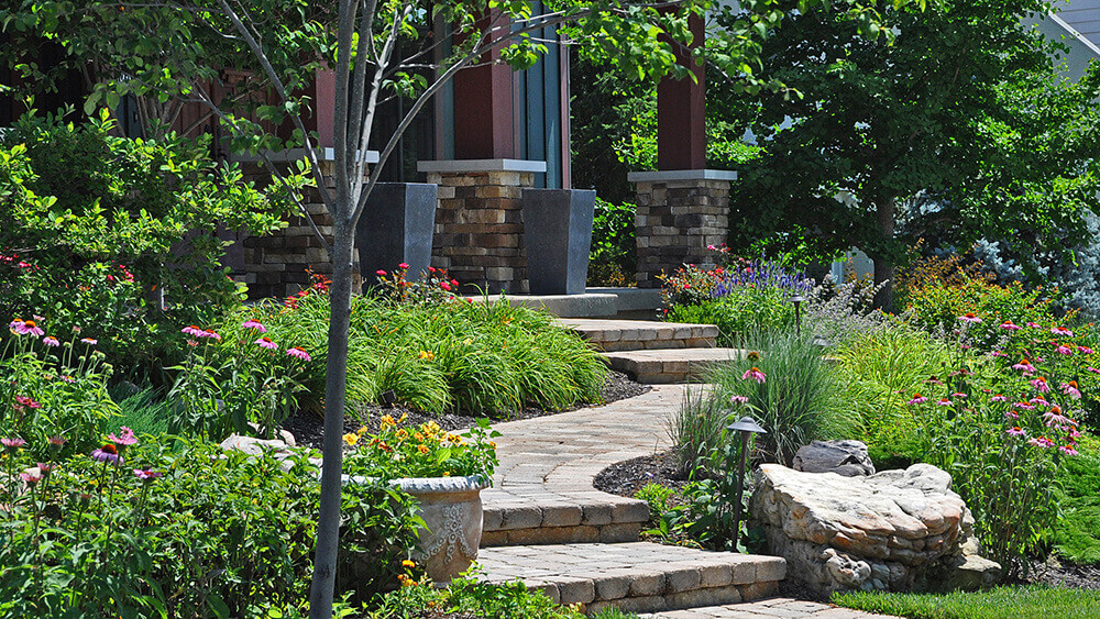 Backyard with stone steps and surrounding flowers.