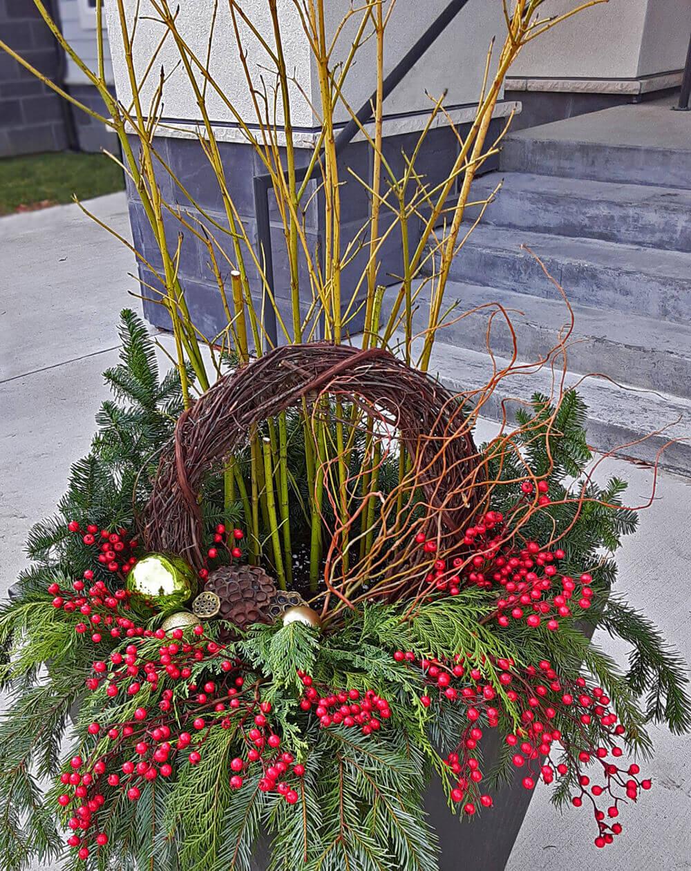 Seasonal flower arrangement for winter.