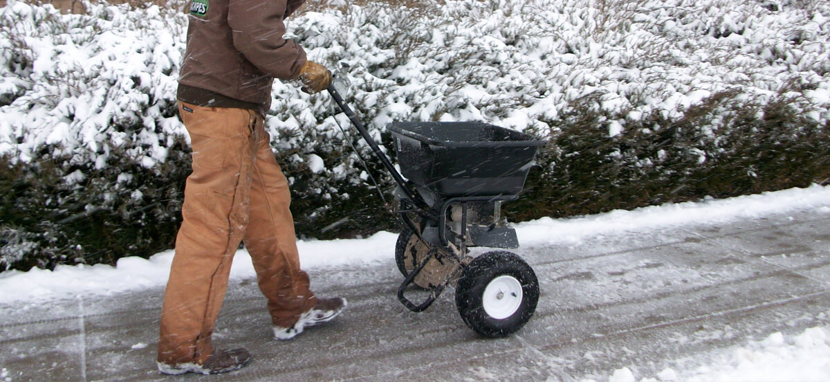 Employee removes snow and treats sidewalks with salt for ice control.