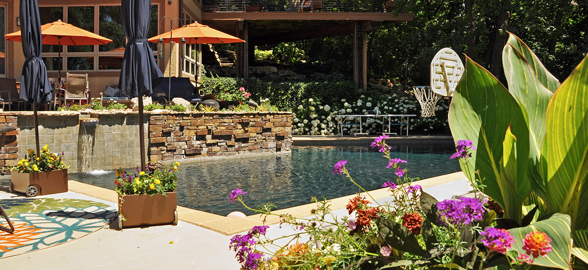 Landscape design and outdoor area with pool.