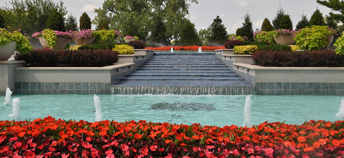 Landscape design and fountain, completed by Embassy Landscape Group.